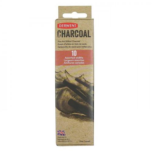 Набор ивового угля из 10 штук: 2 толстых. 4 средних. 4 тонких в картонной упаковке