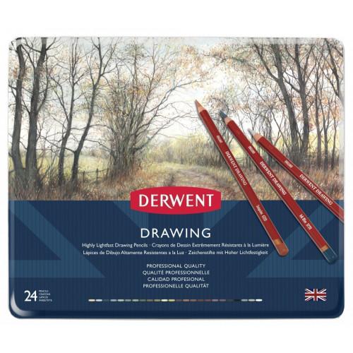 Набор цветных карандашей Derwent Drawing 24 цвета в металлической упаковке