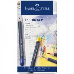 Набор цветных карандашей Faber-Castell Goldfaber 12 штук в металлической коробке