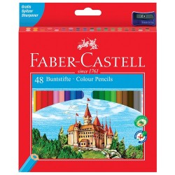 """Карандаши цветные Faber-Castell """"Замок"""", 48цв., заточен., картон, с точилкой"""