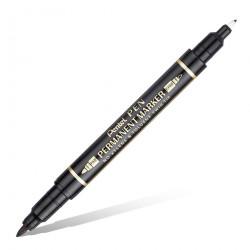Маркер перманентный двухсторонний Pen Twin Tip New, черный, 0.3-0.6/0.8-1.2 мм