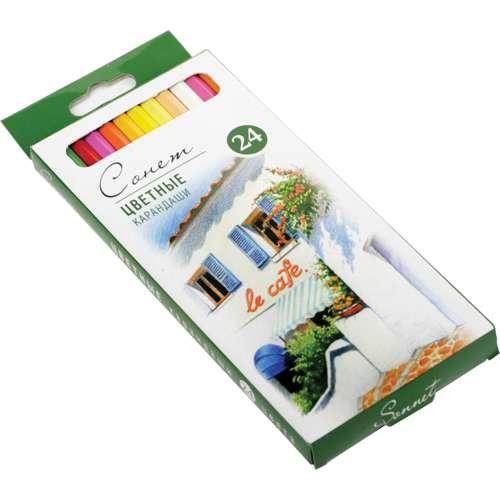 Набор профессиональных цветных карандашей Сонет, 24 цвета