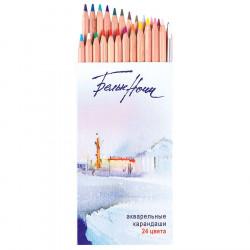 Набор акварельных карандашей Белые Ночи с кистью, 24 цвета, в картонной коробке