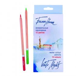 Набор акварельных карандашей Белые ночи, 12 цветов, в картонной коробке