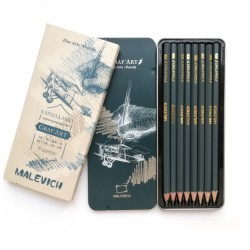 Набор чернографитных карандашей Малевичъ GrafArt, металлическая коробка, 8 шт