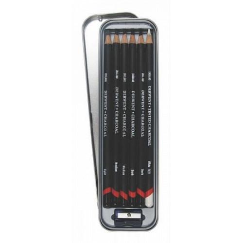Набор угольных карандашей Charcoal 6шт с точилкой в метал.упаковке