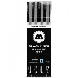 Набор маркеров линеров BLACKLINER  Set 3, 4шт.