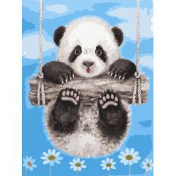 Картина по номерам «Панда на качелях», 30x40 см
