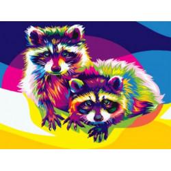 Картина по номерам «Радужный енот», 30x40 см