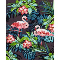 Картина по номерам «Фламинго в цветах», 40*50 см.