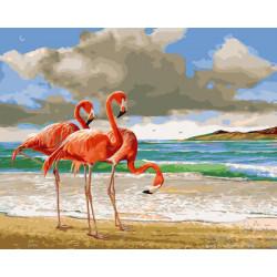 Картина по номерам «Розовые фламинго», 40x50 см