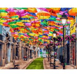 Картина по номерам «Улица зонтиков», 40x50 см
