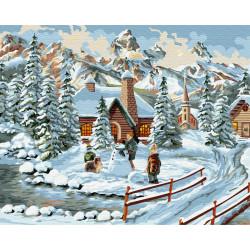 Картина по номерам «Зимний городок», 40*50 см.