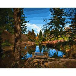 Картина по номерам «Лавочка у озера», 40*50 см.