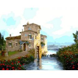 Картина по номерам «Старая водяная мельница», 40*50 см.