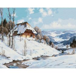 Картина по номерам «Зимний дом у реки», 40*50 см.