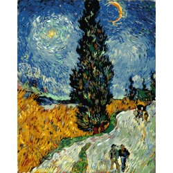 Картина по номерам «Кипарисы на фоне звездного неба Винсента Ван Гога», 40x50 см
