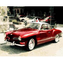 Картина по номерам «Красный ретро-автомобиль», 40*50 см.