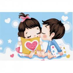 Картина по номерам «Невинный поцелуй», 20x30 см Premium