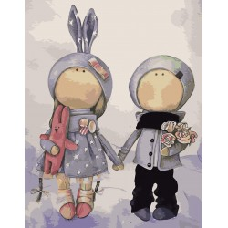 Картина по номерам «Куклы Аня и Ваня», 30x40 см Premium