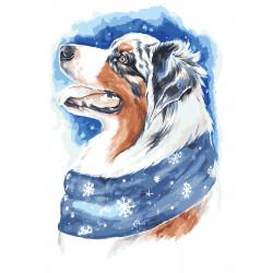 Картина по номерам «Зимний пес», 30x40 см Premium