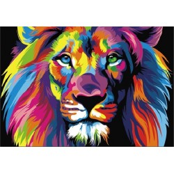 Картина по номерам «Радужный лев», 40x50 см Premium