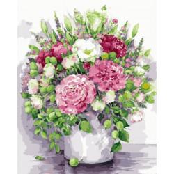 Картина по номерам «Яркие пионы с зелеными плодами в белой вазе», 40*50 см.