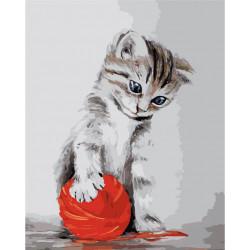 Картина по номерам «Котенок с красным клубком», 40x50 см Premium