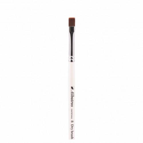 """Кисть из синтетики №8 плоская Альбатрос """"Dry brush"""" бронза, короткая ручка"""