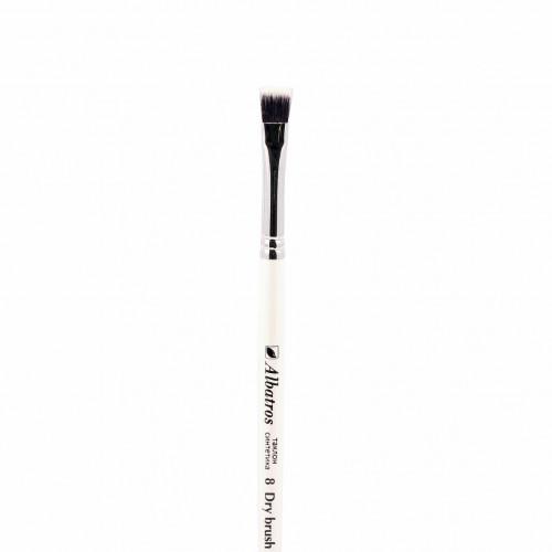 """Кисть из синтетики №8 плоская Альбатрос """"Dry brush"""" таклон, короткая ручка"""