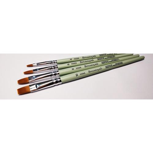Кисть синтетика плоская HANA Воплощай ручка короткая №8