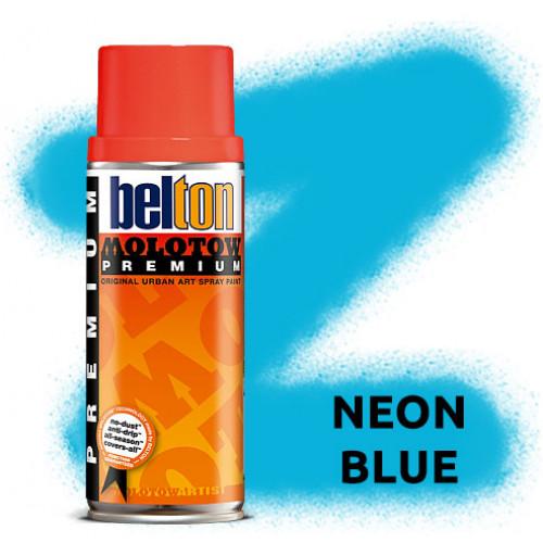 Аэрозольная краска Molotow Premium Neon Синяя (Neon Blue) 400 мл