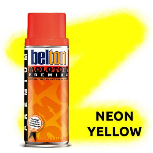 Аэрозольная краска Molotow Premium Neon Желтая (Neon Yellow) 400 мл