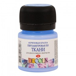 Краска по ткани, голубая перламутровая,  Декола, 20мл
