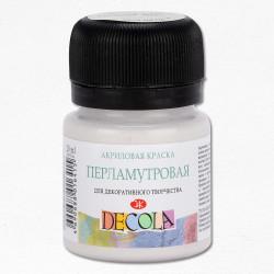 Краска по ткани, cеребристо-белая перламутровая,  Декола, 20мл
