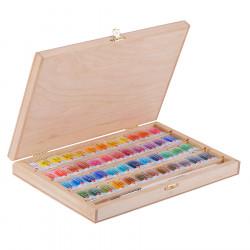 Набор акварельных красок Белые ночи 48 цветов в пенале из берёзы с кистью