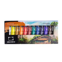 Гуашь «Малевичъ» набор из 12 цветов 12 мл в тюбиках