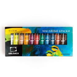 Набор масляных красок Малевичъ, 12 цветов по 12 мл.