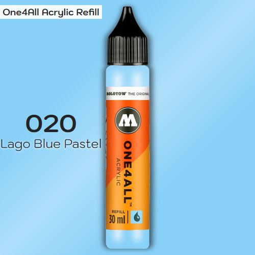 Заправка Molotow ONE4ALL акриловая 020 сине-зеленый, (Lago Blue Pastel), 30мл