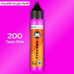 Заправка Molotow ONE4ALL акриловая 200 розовый, (Neon Pink), 30мл