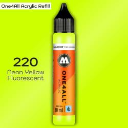 Заправка Molotow ONE4ALL акриловая 220 флюр желтый, (Neon Yellow Fluorescent), 30мл