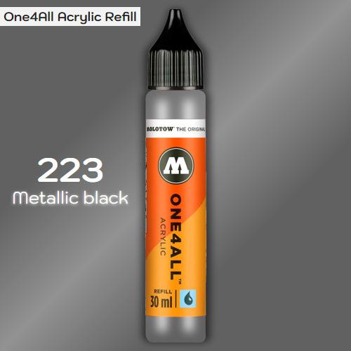 Заправка Molotow ONE4ALL акриловая 223 металлик черный, (Metallic black), 30мл