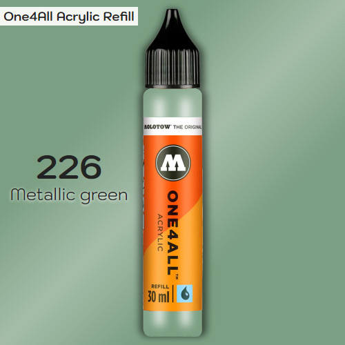 Заправка Molotow ONE4ALL акриловая 226 металлик зеленый, (Metallic green), 30мл