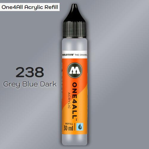 Заправка Molotow ONE4ALL акриловая 238 темно-серый, (Grey Blue Dark), 30мл