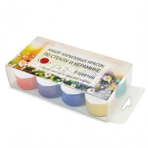Набор акриловых красок по стеклу и керамике 8 цветов/20 мл