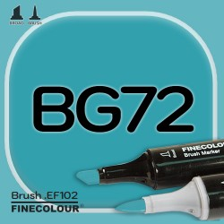 Маркер FINECOLOR Brush BG72 Зеленовато-синий двухсторонний