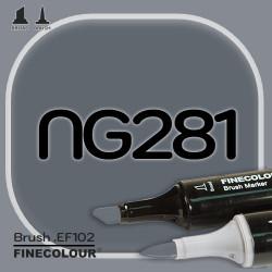 Маркер FINECOLOR Brush NG281 Нейтральный серый №8 двухсторонний