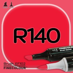 Маркер FINECOLOR Brush R140 Кровавый красный двухсторонний