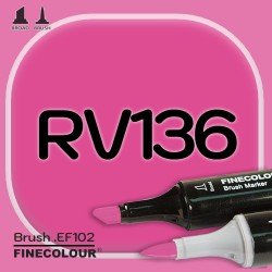 Маркер FINECOLOR Brush RV136 Красный фиолетовый двухсторонний