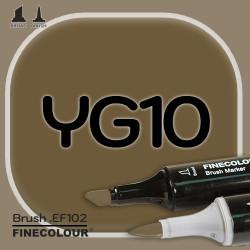 Маркер FINECOLOR Brush YG10 Зеленая парка двухсторонний